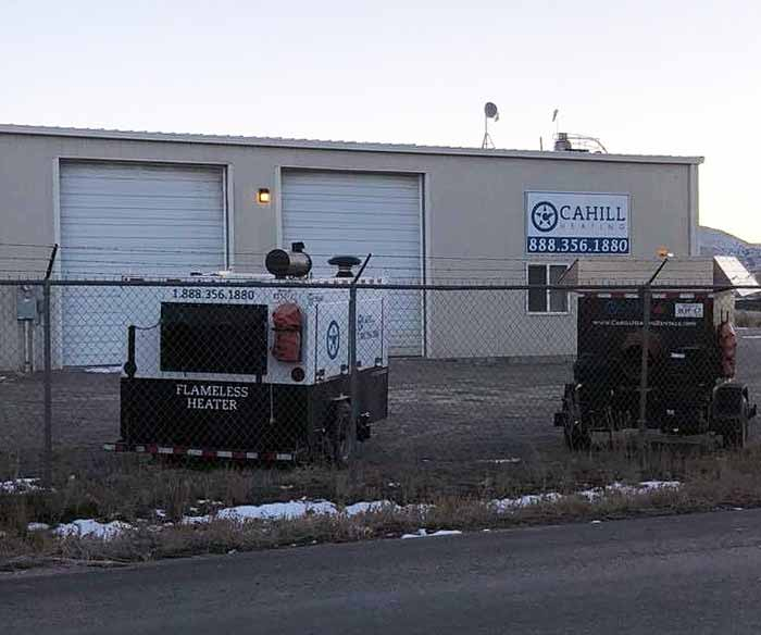 Cahill Heating Rentals service and storage facility in Rock Springs, Wyoming